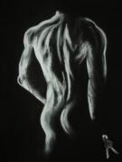 Sculpture femme debout nue de dos