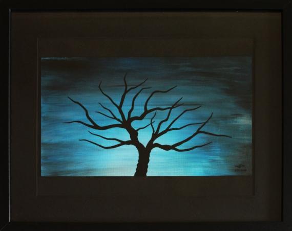 tableau peinture abstrait nuit froide arbre bleu nuit froide. Black Bedroom Furniture Sets. Home Design Ideas