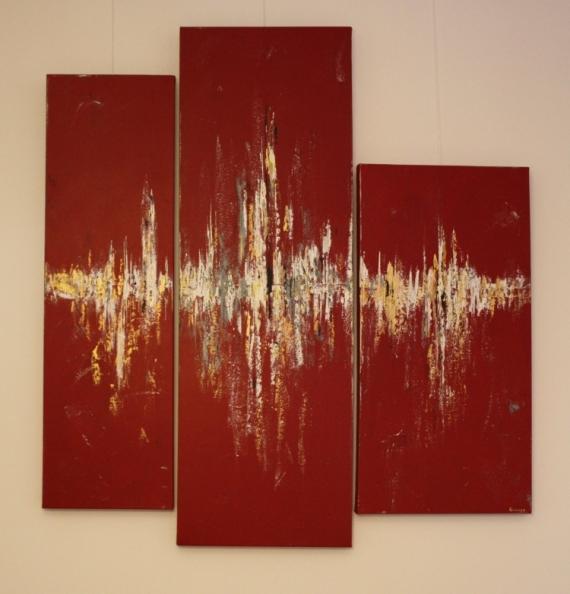 Tableau peinture acrylique tableau abstrait abstrait rouge tryptique tryptique - Peinture acrylique triptyque ...