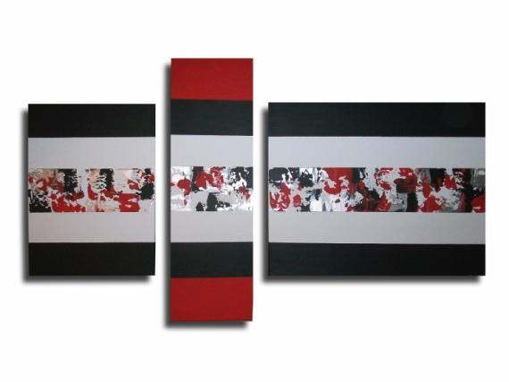 Tableau peinture blanc gris rouge noir tableau triptyque crasy - Peinture gris rouge ...