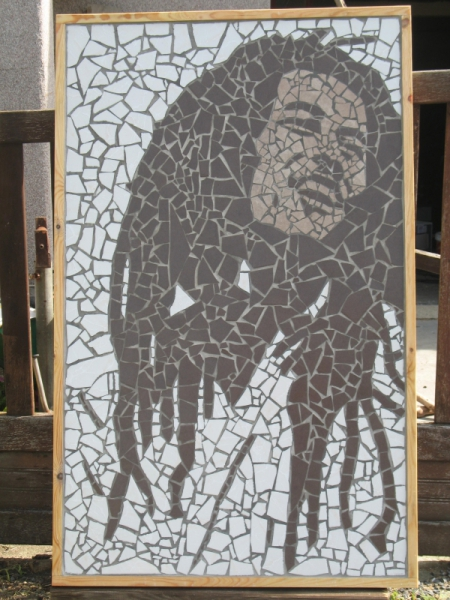 tableau peinture bob marley mosaique tableau mosaique bob marley. Black Bedroom Furniture Sets. Home Design Ideas