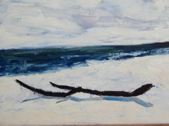 Tableau peinture bois flott plage mer eau bois flott for Peinture bois flotte