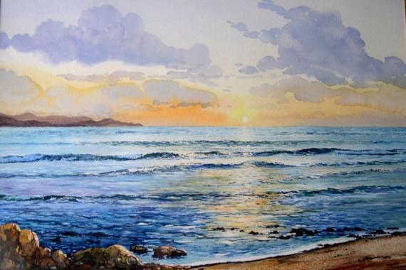 tableau peinture bord de mer reflets soir coucher de soleil sur la mer. Black Bedroom Furniture Sets. Home Design Ideas