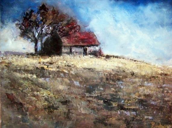 Tableau peinture campagne maison champ nature maison la campagne - La maison de la peinture ...