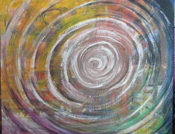 Tableau peinture cercle chromatique mouvement spirale - Cercle chromatique peinture ...