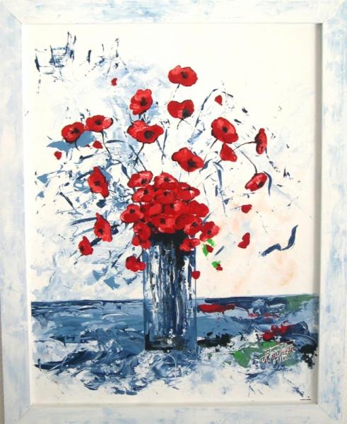 Tableau peinture coquelicots fleurs nature bouquet bouquet for Tableau de coquelicot en peinture