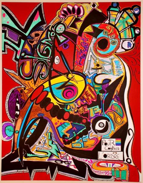 Tableau peinture couleurs color abstrait joyeux il - Tableau grand format pas cher ...