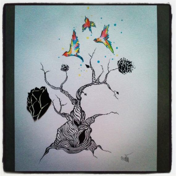 ... Dessin Encre Larbre Abstrait - Tableau dessin dans un cadre: Rever
