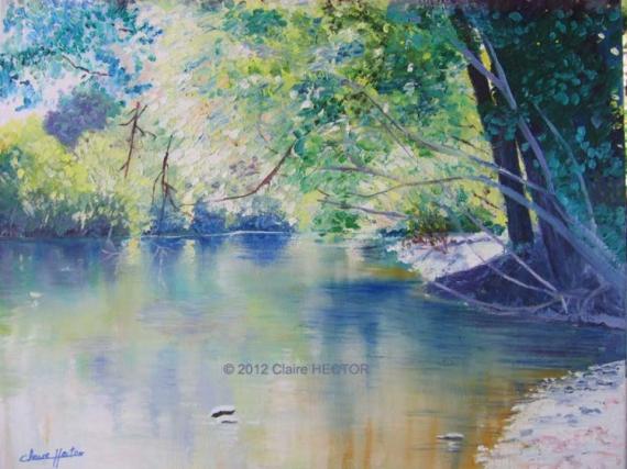 Tableau peinture dordogne eau reflets souillac coin de peche - Peinture couleur peche ...