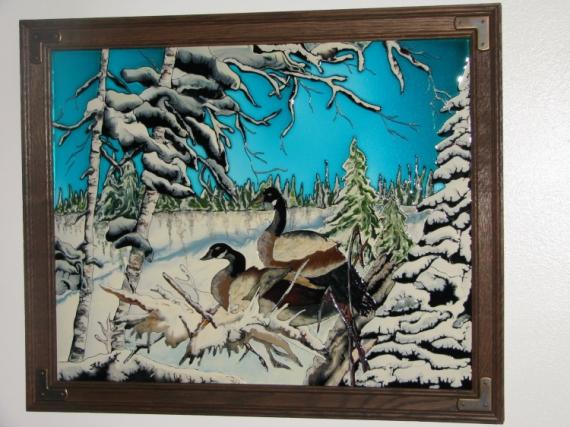 Tableau peinture faux vitrail bernache france lambert for Faux vitrail sur miroir