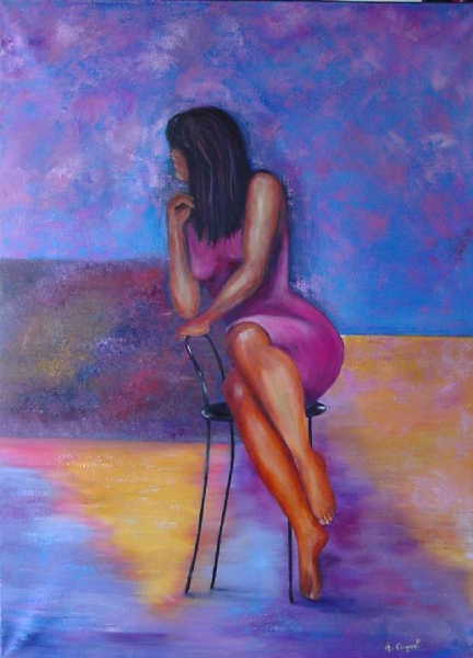 Tableau peinture femme chaise moderne dco la chaise - Tableau peinture a l huile moderne ...