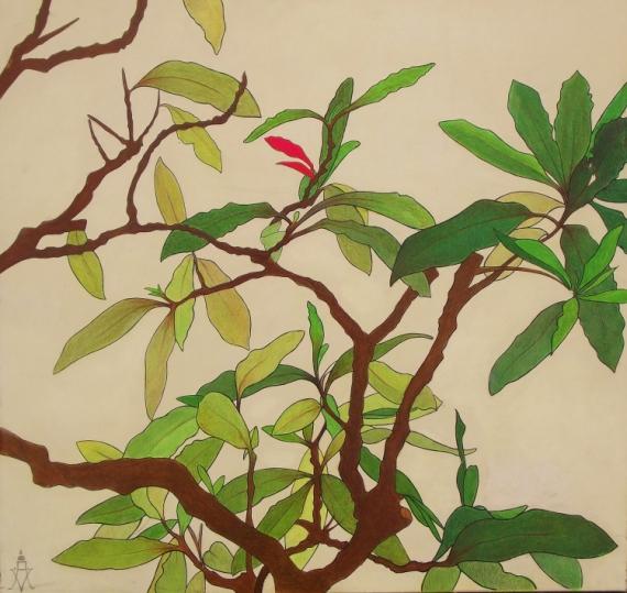 Tableau peinture fleur vert vert vert plante japonaise for Plante verte japonaise