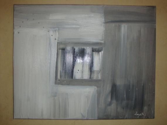 Tableau peinture gris noir blanc abstrait deco art deco design - Tableau art deco design ...