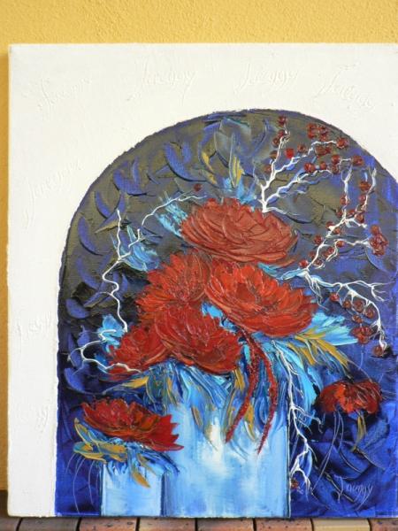 Tableau peinture huile spatule dahlias rouge technique for Peinture a la spatule