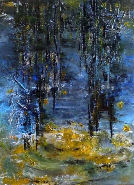 Tableau peinture l 39 eau reflet abstrait bleu bluebluereflet sur l 39 eau - Peinture a l eau ...