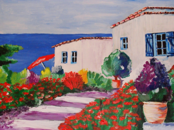 maison peinture acrylique 20171026065630 tiawukcom With peinture d une maison 4 peinture tableau maison