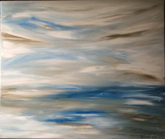 Tableau peinture mer calme bleu gris marron blanc srnit for Tableau bleu et gris