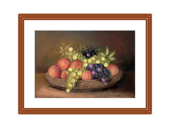 tableau peinture nature morte fruits corbeille raisins la corbeille de fruits. Black Bedroom Furniture Sets. Home Design Ideas