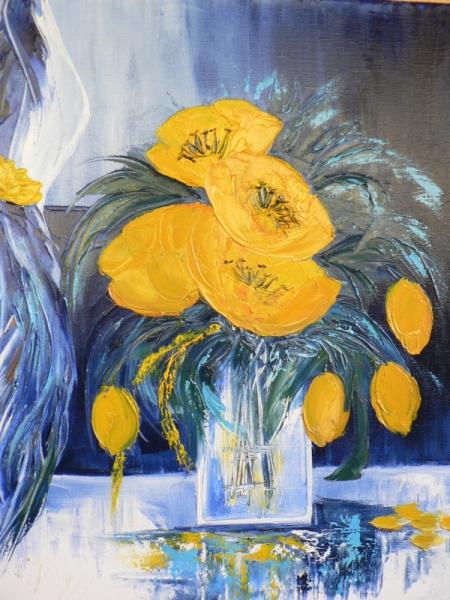 Tableau peinture peinture huile bouquet tulipe travail for Peinture a la spatule
