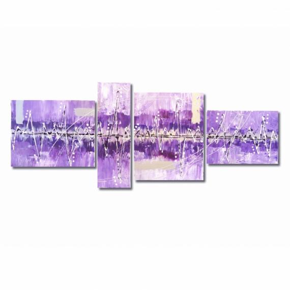 Tableau peinture peinture violet mauve purple grand tableau violet mauve blanc argent noir Salon noir blanc violet