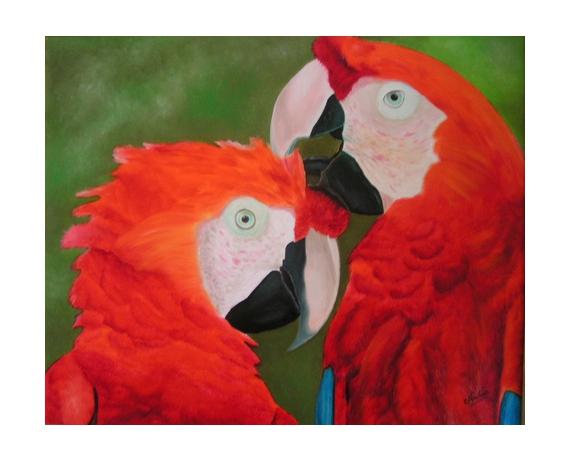 tableau peinture perroquet oiseau nadia peinture la beaut du perroquet. Black Bedroom Furniture Sets. Home Design Ideas