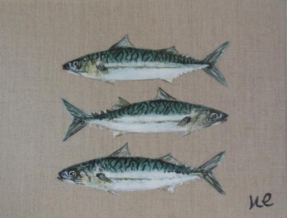 tableau peinture poisson mer maquereau decoration petits maquereaux sur toile de lin. Black Bedroom Furniture Sets. Home Design Ideas