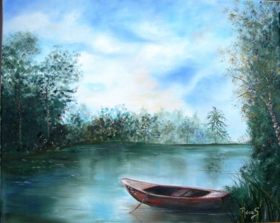 tableau peinture rivi re barque eau reflets sur l 39 eau. Black Bedroom Furniture Sets. Home Design Ideas