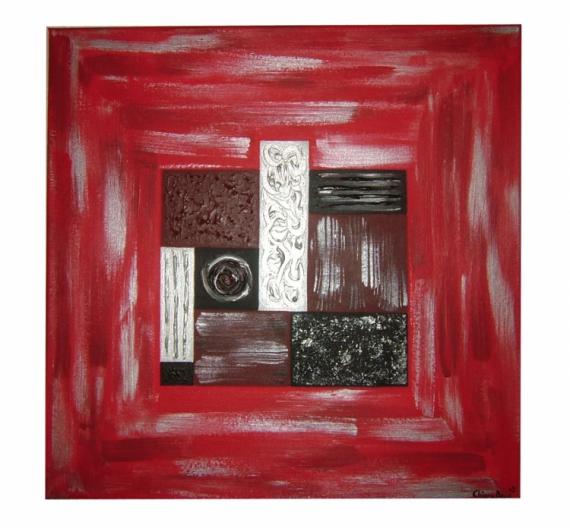 Tableau peinture rouge gris noir moderne tableau fusion - Tableau rouge noir gris moderne ...