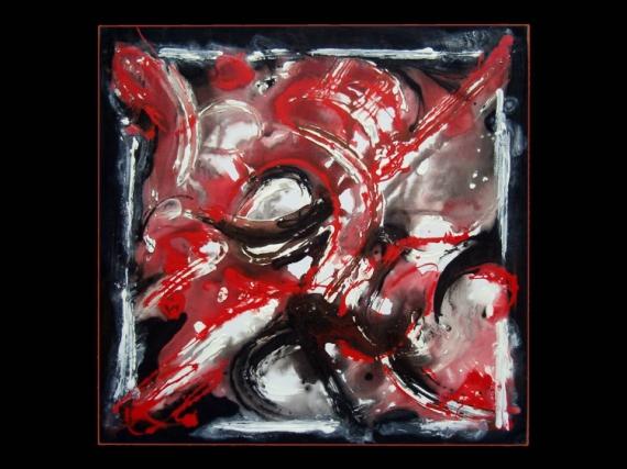 Tableau peinture rouge noir musique blanc triballade - Tableau noir blanc rouge ...