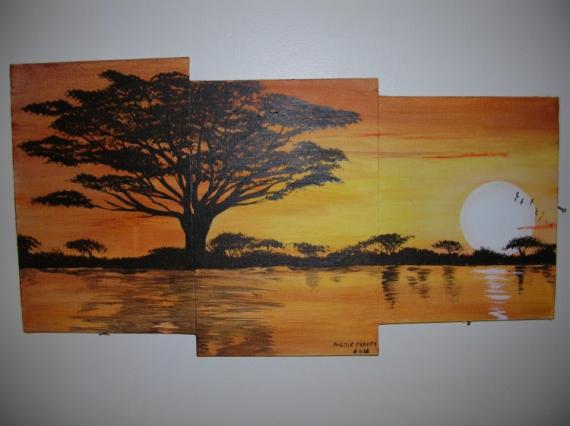 Tableau peinture savanne lever soleil afrique sauvage lever de soleil sur l - Acheter tableau peinture ...