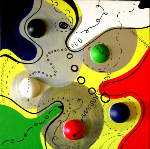 Tableau peinture srie carr forme relief mninges 2 for Forme peinture