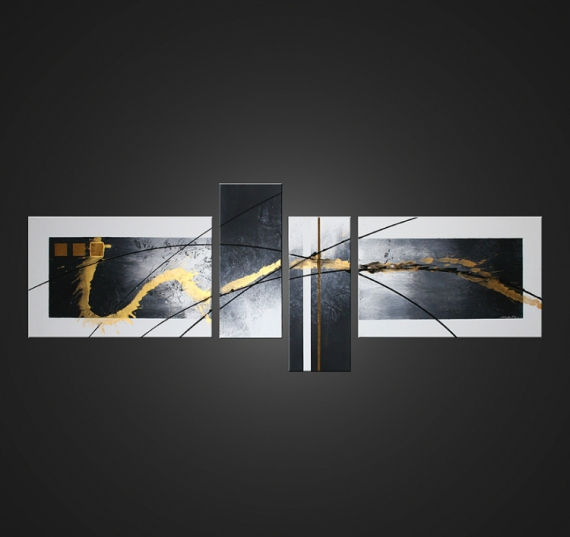 Tableau peinture tableau abstrait moderne design white gold - Tableau peinture moderne design ...