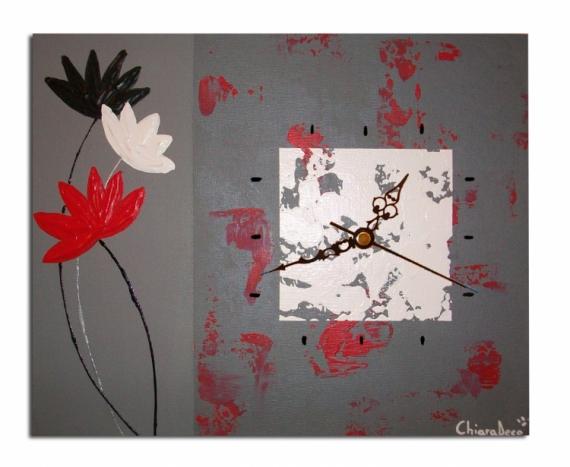 Tableau peinture tableau fleur horloge fleur rouge - Tableau rouge noir gris moderne ...