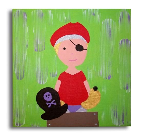 Tableau peinture tableau pirate enfant vert tableau pirate vert mauve rouge d coration chambre - Decoration pirate chambre bebe ...