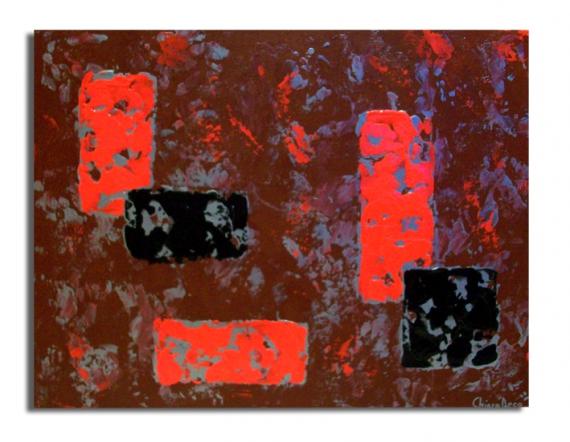 Tableau peinture tableau rouge moderne noir tableau - Tableau rouge noir gris moderne ...