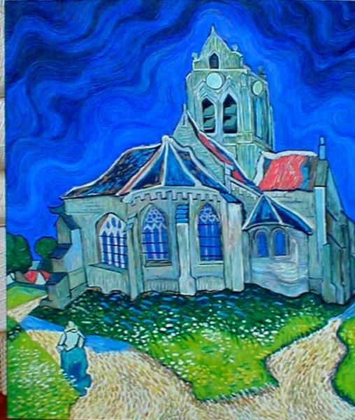 Tableau peinture van gogh copie eglise vangogh - Peinture a l huile van gogh ...