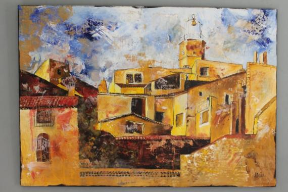Tableau peinture village provence venterol ocre venterol - Peinture ocre provencal ...