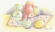 dessin nature morte fruits coupe citrons pommes : Coupe de fruits
