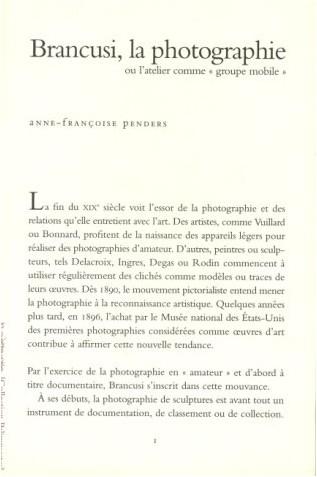 """Anne-Françoise Penders - Brancusi, la photographie, ou, L'atelier comme """"groupe mobile"""""""