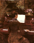 FRENCH ABBEMA LOUISE AT THE PIANO TABLEAU REPRODUCTION HUILE TOILE PEINTURE M