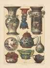 Chinois Porcelaine Ming-Vase Lithographie De 1883 Ming-Dynastie Chine