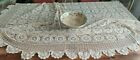 NAPPE CROCHET D'ART FAIT MAIN ECRU OVALE Vintage French Table Cover