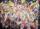 HAYVON  signed yours COLORS TABLEAU pop ART abstrait paint canvas french Pollock