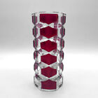 VASE VERRE À FACETTES BICOLORE VINTAGE GLASS FACETED MID CENTURY DESIGN 60's