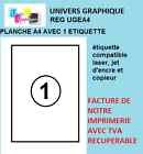 Feuille  Papier Autocollante Etiquette A4 210 x 297 mm Multi usages