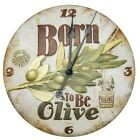 Horloge murale born to be olive Natives retro vintage métal visuel relief  NEUF