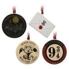 OFFICIAL HARRY POTTER SET OF 4 CHRISTMAS TREE DECORATIONS BAUBLES NEW & GIFT BOX