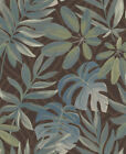 FD24202 - Lune Vert Marron Tropical Motif Feuille Fine Decor Papier Peint