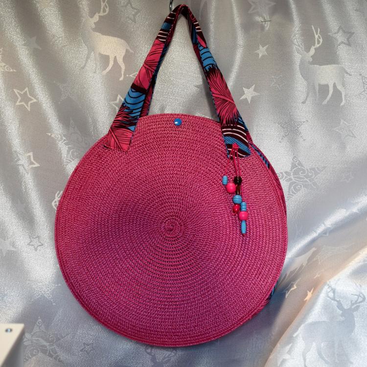 sac rond en rafia rose fushia