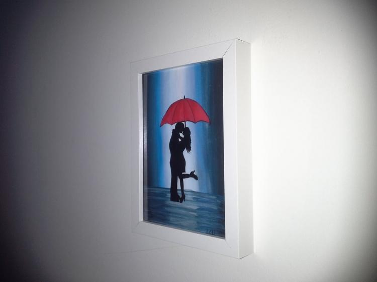 """Peinture silhouette """"couple avec parapluie"""""""